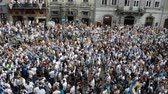 checkered : LVIV, UKRAINE - JULY 22, 2014: Fans of soccer Stock Footage