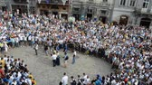 askerler : LVIV, UKRAINE - JULY 22, 2014: Fans of soccer Stok Video