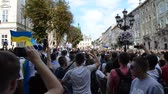 chant : LVIV, UKRAINE - JULY 22, 2014: Fans of soccer Stock Footage