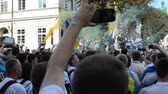 temmuz : LVIV, UKRAINE - JULY 22, 2014: Fans of soccer Stok Video