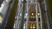 catalonia : Interior of Sagrada Familia, Barcelona. Stock Footage