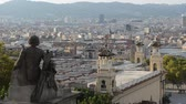 montjuic : Barcelona cityscape - aerial view seen from Montjuic hill. Stock Footage