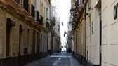 atlantik : City of Cadiz, Spain, Andalusia. Streets of Cadiz Stok Video
