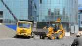 dredger : Construction works, work of equipment and people. Building Stock Footage