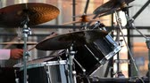 trumpet : The drummer plays percussion instruments. Stock Footage