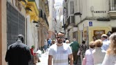 混雑した : City of Cadiz, Spain, Andalusia. Streets of Cadiz 動画素材