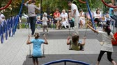 spielplatz : Children play in the playground in the summer.
