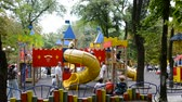 spielplatz : Childrens playground. Shooting in the summer. Stock Footage