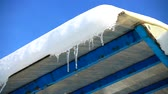 icicle : The water dripping from icicles. Shooting in the winter. Slow motion. Stock Footage