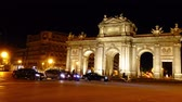 triumphal arch : The Puerta de Alcala. Time lapse. Madrid.