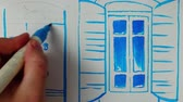 blind : Draw a door and a window to the house. Time lapse.