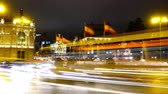 leeuwen : Cibeles fountain in Madrid. Night traffic in Madrid. Time lapse.