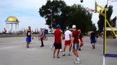 basketballkorb : UKRAINE, BERDYANSK - JULY 6, 2019: Public competitions in Streetball. Slow motion. Videos