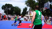 청소년 문화 : UKRAINE, BERDYANSK - JULY 6, 2019: Public competitions in Streetball. 무비클립