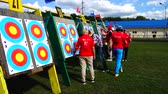 stadyum : LVIV, UKRAINE - SEPTEMBER 09, 2019: Participants fifty-sixth International archery competitions Golden autumn 2019.