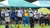 atirador : LVIV, UKRAINE - SEPTEMBER 09, 2019: Participants fifty-sixth International archery competitions Golden autumn 2019.