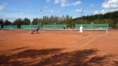 tribunal : LVIV, UKRAINE - SEPTEMBER 19, 2019: Tennis players play tennis.