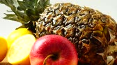 ananas : Still life from pineapple, apples and lemons. Healthy food. Dostupné videozáznamy