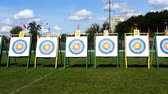 アーチェリー : Targets for archery. Shooting in the summer.