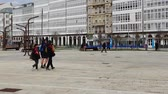 taşra : LA CORUNA, SPAIN - APRIL 1, 2018: Unknown people on the embankment of the city.