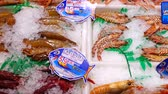 ahtapot : MADRID, SPAIN - MARCH 25, 2018: San Anton Market. Choice of seafood. The market is in the center of the Quarter of Chueka. Stok Video