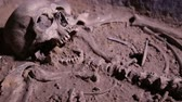 kazılmış : Human skeleton, skull, bones, excavated a burial, in the grave are clay pots, objects of labor and hunting