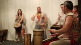 djembe : Musical group plays ethnic drums djembe, master class professional