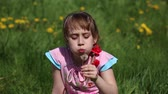 liberdade : Girl blowing on a dandelion sitting in the flower meadow