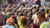 holi : The festival of colors, people throw paints, the crowd smeared with paints people on June 12, 2016 in Samara  Samara region  Russia