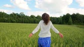 liberdade : Happy woman running across the green field in slow motion Vídeos