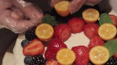 cherry : Berry Strawberry Cake Decoration Full HD Stock Footage