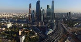 outside : Moscow City business center Stock Footage