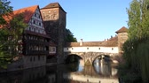 Nuremberg with Weinstadel, biggest half-timbered building of Germany on a beautiful day with blue sky