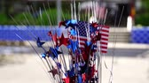 miniature US flag in outdoor party decoration set did is moving in the wind