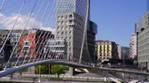 Bilbao - bridge Zubizuri w people and architecture highlights of the elected Capital of Culture of Spain, Basque Country