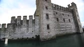 battlements : Castle on water Stock Footage