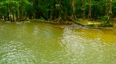 mistério : Bright colorfull natural pool in exotic rainforest. Tropical jungle landscape