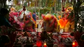 espíritos : SAMUI, THAILAND - FEBRUARY 24, 2018: Thai Chinese worshipers and devotees take part in Chinese new year festival procession with elements of self-harming,religious rituals, mediums, oracles, priests.