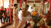 pierce : SAMUI, THAILAND - FEBRUARY 24, 2018: Thai Chinese worshipers and devotees take part in Chinese new year festival procession with elements of self-harming,religious rituals, mediums, oracles, priests.