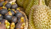 local : Mixed season tropical sweet juicy Fruits, local Thailand market. Large Monthong Durian, hard skin covered in sharp points and Mangosteen, King and Queen, most delicious antioxidant fresh exotic fruits