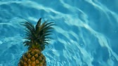 ananász : Pineapple Floating In blue Water In Swimming Pool. Healthy Raw Organic Food. Juicy Fruit. Vegetarian, Vegan Nutrition, Vitamins, Diet, summer holidays, vacation concepts. Exotic tropical background Stock mozgókép