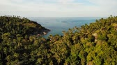 parked : Aerial drone top view of white sand tropical exotic paradise tiny shore in Koh Prangan island, Thailand. Small boats on ocean surface. Cute remote beach with volcanic stones and green coconut palms. Stock Footage