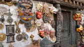 necklace : Traditional colorful Handmade wooden masks and handicrafts for sale in Kathmandu, Nepal. Souvenir Shops in Durbar of Bhaktapur and Patan. Swayambhunath decorative asian market.