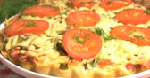 salami slice : Italian pizza with meat, tomatoes ,dill and double cheese Stock Footage