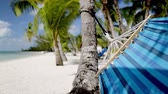 arenoso : vacation, seaside, summer and leisure concept - close up of blue hammock swinging on tropical beach Vídeos