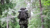 militar : war, hiking, army and people concept - young soldier, ranger or hunter with backpack walking in forest
