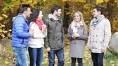 pretty : season, friendship, drinks and people concept - group of smiling men and women with coffee paper cups in autumn park