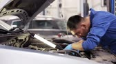 mistr : car service, repair, maintenance and people concept - mechanic man with lamp working at workshop