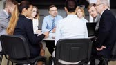 sorridente : business team with scheme meeting at office 52 Stock Footage