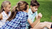 jogador : happy kids playing rock-paper-scissors game Stock Footage